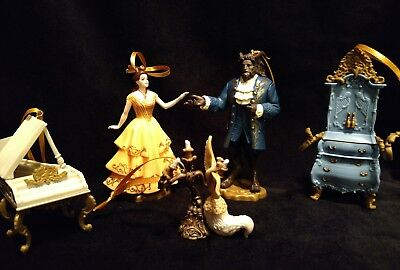 Disney Beauty and the Beast Christmas Ornament set Belle, Beast, Lumiere, piano