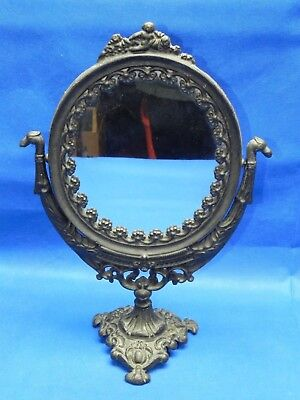 "Vintage Cast Iron Ornate Swivel Vanity Mirror on Stand 18"" Tall"