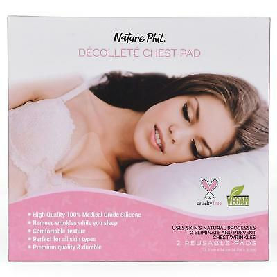 2 PACK Premium Anti Wrinkle Age Chest Pads Decollete Reusable Washable Silicone