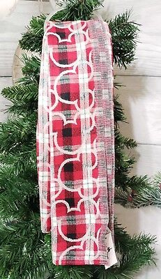 Disney Parks Mickey Icon Plaid Reversible Red Silver Holiday Christmas Scarf