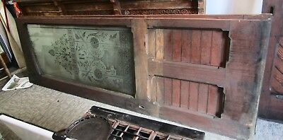 1860's ETCHED ROLLED ACID GLASS DOORS FROM CARRIAGE/FLOWER SHOP FROM UPSTATE NY.
