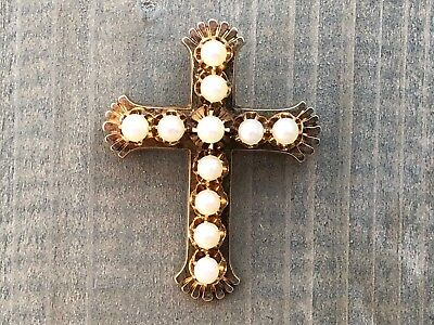 14k YELLOW GOLD -VINTAGE CROSS - PENDANT BROOCH WITH 11 WHITE PEARLS