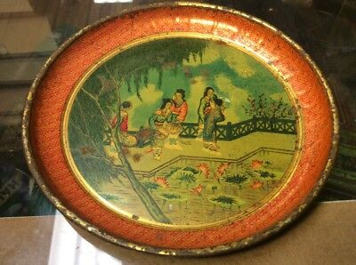 Antique Japanese Tin Lithograph Tray Vintage Family Colorful Metalware Asian Old