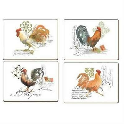 Cala Home Watercolor Roosters Hardboard Cork-Back Placemats, Set of 4