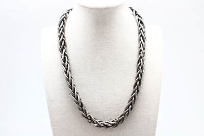 .925 Sterling Silver Chunky Woven Chain Link Toggle Clasp Necklace (161.7g)