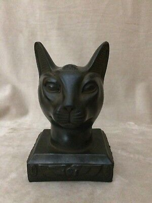 EGYPTIAN ANTIQUITIES PHARAOHS EGYPT Bastet Ubaste Bast CAT Head STATUE STONE BC