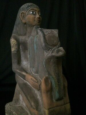 Rare Ancient Egyptian Antiques Egypt Statue Kneeling Senenmut Stone 1473-1458 BC