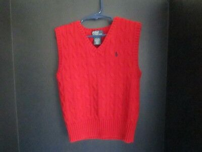 Polo Ralph Lauren boys 4T red cable knit V neck sweater vest