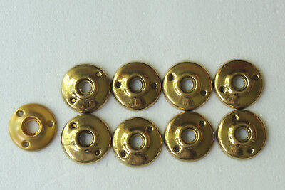 "Lot Of 11 Vintage Round Brass Rosette DoorKnob Back Plates 2"" back measurement"