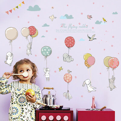 Rabbit Wall Sticker Decal For Nursery Kids Baby Girl Room Backdrop Decoration AU
