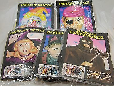 5 Halloween Costume Head Pieces,Clown,Witch,Hobo,Pirate,Executioner One Size,NEW