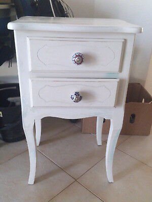 Wooden French coastal style bedside table with 2 drawers