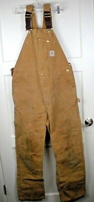 Carhartt 6FB Brown Duck Double Front Unlined Overall Bibs Size: 36 x 34