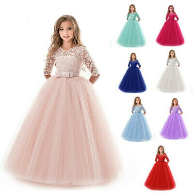 Communion Dress for Flower Girls Wedding Party Lace Princess Pageant Formal Gown