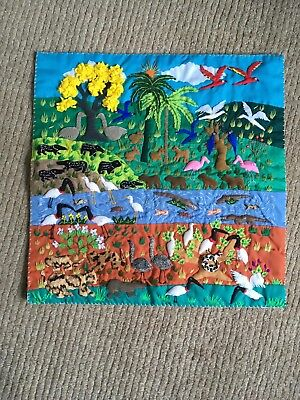 wall hanging textile handicraft trapunto from Brazil womens cooperative Pantanal