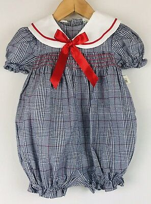 Vintage Smocked Romper Plaid Macy's NWT Collared 18Mo