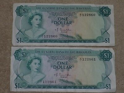 Set of Two1974 Central Bank of the Bahamas One Dollar Notes 860, 861