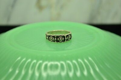 925 Sterling Silver Etched Flower Pattern With Crosses Ring Band Size 5.5 #22351