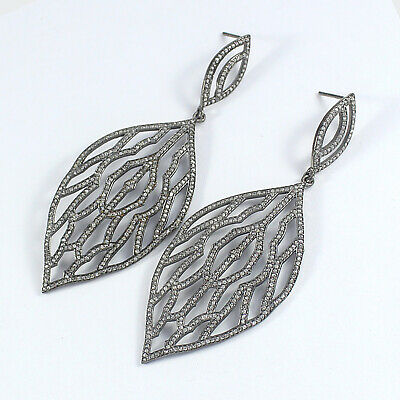 Victorian Rose Cut Pave Diamond Earring 925 Sterling Silver Gift Jewelry PQ-279