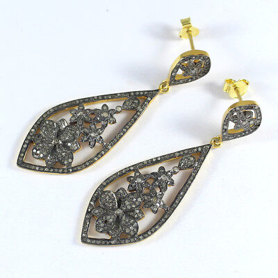 Victorian Rose Cut Pave Diamond Earrings 925 Sterling Silver Gift Jewelry PQ-287