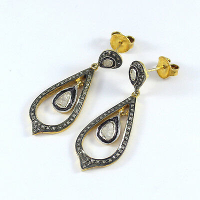 Vintage Style Pave Rose Cut Diamond Earrings 925 Sterling Silver Jewelry PQ-296