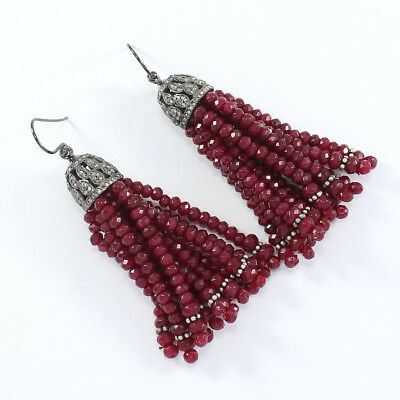 Victorian Rose Cut Pave Diamond Tassel Earrings 925 Sterling Silver PQ-304