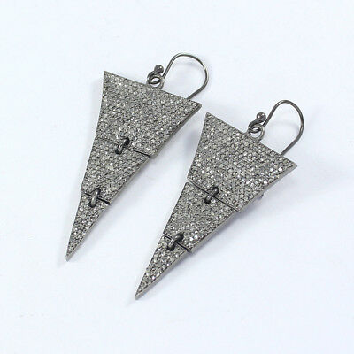 Victorian Rose Cut Pave Diamond Earrings 925 Sterling Silver Jewelry PQ-306
