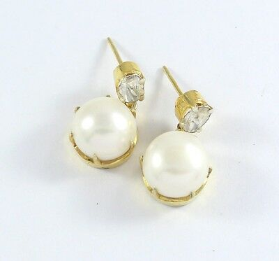 Polki Pave Diamond Pearl Earrings 925 Sterling Silver Antique Jewelry PQ-312