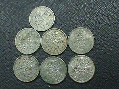 GREAT BRITAIN   LOT    ,  6 Pence   1957  1958  1962 ( 2 )  1963  1964  &  1965