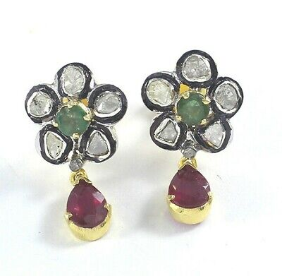 Natural Ruby Polki Pave Diamond Earrings 925 Silver Antique Style Jewelry PQ323