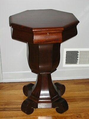 Antique Empire Style Octagon Ladies Nine Compartment Sewing Table