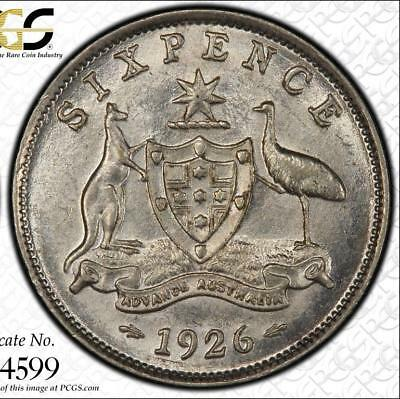 "1926 Australia Sixpence ""2 with Serif"" PCGS graded MS62 - Rare keydate coin"