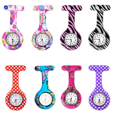 Nurse Watch Patterned Silicone Nurses Doctor Brooch Tunic Fob Watches Battery UK