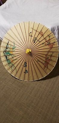 Vintage Bamboo Parasol Umbrella Antique Bamboo Handle Chinese Butterfies Flowers