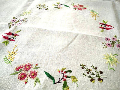 Fabulous Australian Native Wild Flowers/Waratah++ ~ Hand Embroidered Tablecloth
