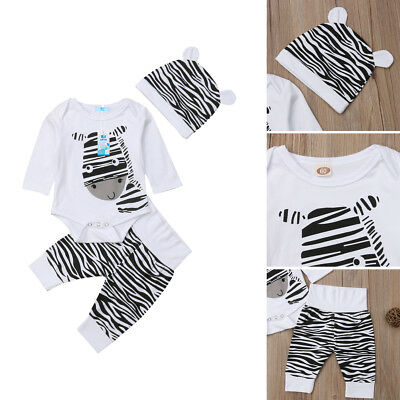 UK STOCK Cute Newborn Baby Girl Boy Zebra Tops Romper Pants Outfits Set Clothes