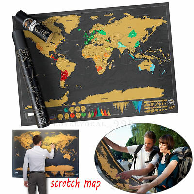 NEW Scratch Off World Map Poster Travel Atlas Decoration 59.5 * 82.5cm