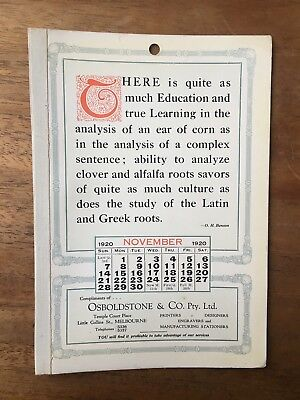 Antique November 1920 Calendar Osboldstone Co Melbourne Printer O. H. Benson