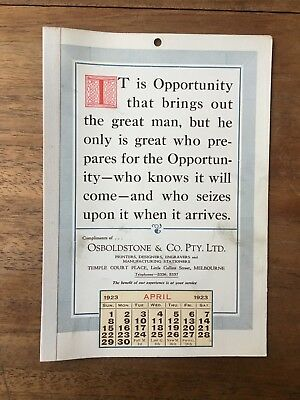 Antique April 1923 Calendar Osboldstone Co Melbourne Printer Vintage Card