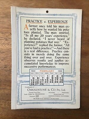 Antique February 1922 Calendar Osboldstone Co Melbourne Printer Vintage Card