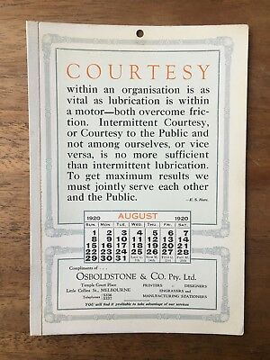 Antique August 1920 Calendar Osboldstone & Co Melbourne Printer E.s.hare
