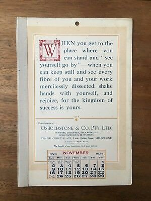 Antique November 1924 Calendar Osboldstone Co Melbourne Printer Vintage Card
