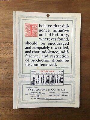 Antique February 1920 Calendar Osboldstone Co Melbourne Printer J.d.rockefeller