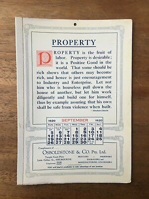 Antique Septmeber 1920 Calendar Osboldstone Co Melbourne Printer Abraham Lincoln