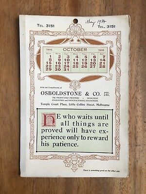Antique October 1916 Calendar Osboldstone & Co Melbourne Printer Art Nouveau