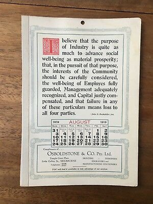 Antique August 1919 Calendar Osboldstone & Co Melbourne Printer J.d.rockefeller