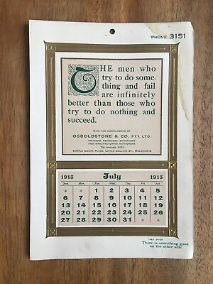 Antique July 1913 Calendar By Osboldstone & Co Melbourne Printer Art Nouveau