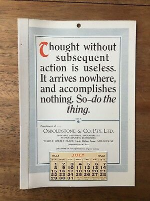 Antique July 1923 Calendar Osboldstone Co Melbourne Printer Vintage Card