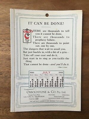 Antique July 1920 Calendar Osboldstone & Co Melbourne Printer Edgar A. Guest