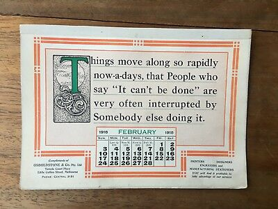 Antique February 1918 Calendar Osboldstone & Co Melbourne Printer Art Deco